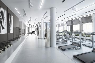 Laufbänder im Fitness-Zenter, leer (Planung)