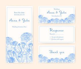 Wedding invitation cards with chrysanthemum. Different vertical and horizontal compositions. Monochrome vector illustration.