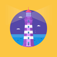 Lighthouse on ocean or sea beach cartoon background flat vector illustration. Lighthouse on coast of sea