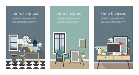 Modern interior banners set. Kitchen, living room, workplace in loft style. Colorful flat vector vertical templates with place for text