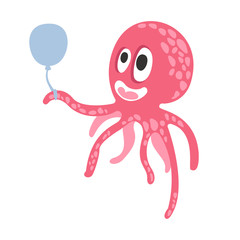 Cute cartoon pink octopus character holding air balloon, funny ocean coral reef animal vector Illustration