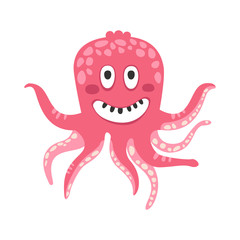 Cute smiling cartoon pink octopus character, funny ocean coral reef animal vector Illustration
