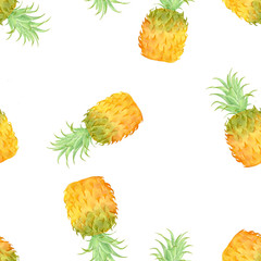 Pineapples seamless pattern, Hand painted watercolor