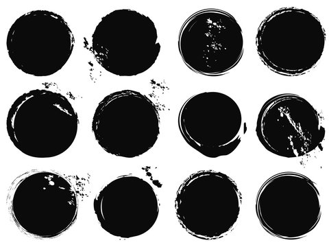 black grunge circle splashes