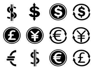 black currency symbols icons set
