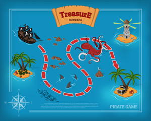 Pirate game in cartoon style. Seascape with a path image. Mobile interface with island and sea monsters: shark, kraken. Vector illustration