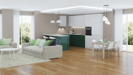 Modern house interior. 3D rendering.