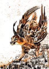 Рисунок акварель Крылатый Каракал