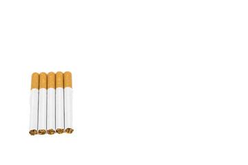 Several cigarettes on white background
