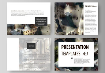 Set of business templates for presentation slides. Easy editable abstract vector layouts in flat design. Colorful background made of dotted texture for travel business, urban cityscape.