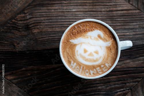 Halloween Pumpkin Cappuccino coffee art.
