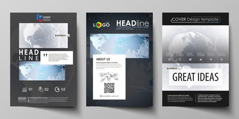 The black colored vector illustration of the editable layout of A4 format covers design templates for brochure, magazine, flyer, booklet. Technology concept. Molecule structure, connecting background.