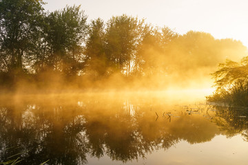 Foggy dawn over a beautiful spring river