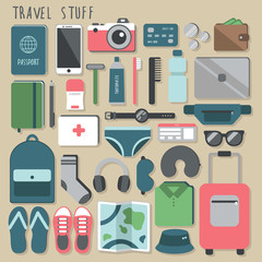 Big vector travel stuff set. Vector illustration. Cute cartoon flat style. Big set of icons. All stuff that you need in a trip. Necessary things that you should take with you in journey