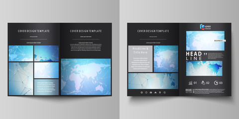 The black colored vector illustration of editable layout of two A4 format modern covers design templates for brochure, flyer, booklet. World map on blue, geometric technology design, polygonal texture