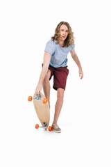 handsome young man with skateboard