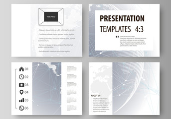 The minimalistic abstract vector illustration of the editable layout of the presentation slides design business templates. Abstract futuristic network shapes. High tech background.