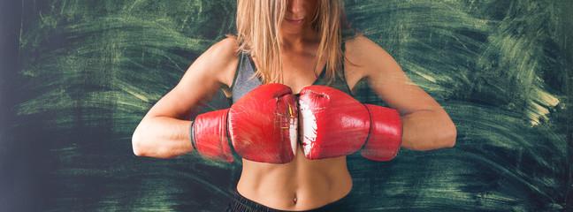 Portrait Woman Boxing Gloves Dark Background