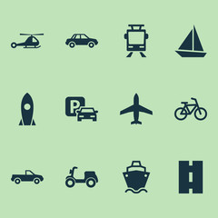 Transport Icons Set. Collection Of Bicycle, Spaceship, Cabriolet And Other Elements. Also Includes Symbols Such As Cargo, Cabriolet, Boat.