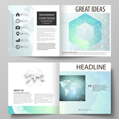 The vector illustration of the editable layout of two covers templates for square design bi fold brochure, magazine, flyer, booklet. Chemistry pattern, molecule structure, geometric design background.