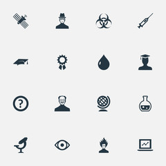 Vector Illustration Set Of Simple Knowledge Icons. Elements Student, Researcher, Graduation Hat And Other Synonyms Earth, Professor And Growth.