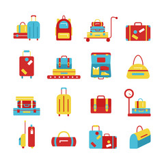 Bags icon set. luggage images.