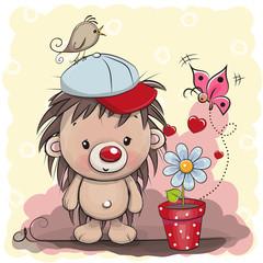 Cute cartoon Hedgehog with flower