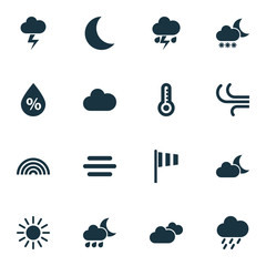 Climate Icons Set. Collection Of Moisture, Breeze, Cloudy And Other Elements. Also Includes Symbols Such As Hate, Humidity, Cold.