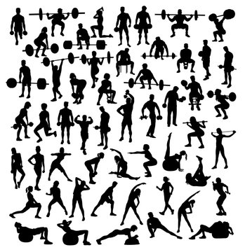 Gymnastics, gym, weight lifting and fitness, art vector silhouettes design