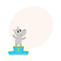 Cute little hippo character, champion standing on top of the winner pedestal, cartoon vector illustration with space for text. Baby hippo champion waving from winner pedestal