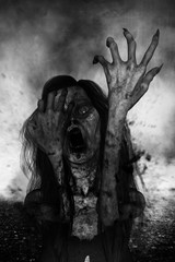 3d illustration of scary ghost woman screaming in the dark,Horror background,mixed media