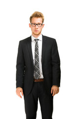 Young, handsome business man wearing black suit.