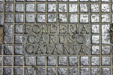 Manhole cover in Catania, Italy