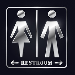 Silver Man and Woman Silhouette Restroom Sign