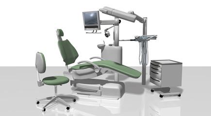 Zahnarztpraxis mit Zahnarztstuhl freigestellt