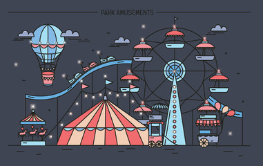 Horizontal banner with amusement park. Circus, ferris wheel, attractions, side view with aerostat in air. Colorful line art vector illustration on dark background.