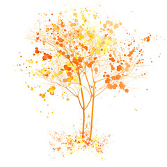 Autumn tree watercolor illustration. Fall tree with art splashes