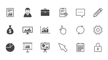 Statistics, accounting icons. Charts signs.