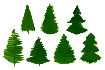 Vector Set of 7 Cartoon Pine Trees painted isolated
