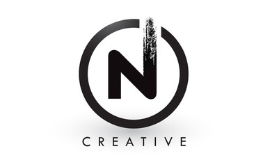 N Brush Letter Logo Design. Creative Brushed Letters Icon Logo.
