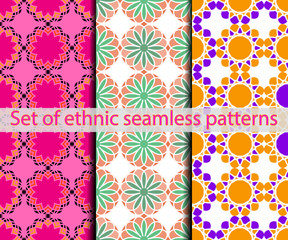 Set of ethnic seamless patterns.
