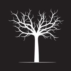 White naked Tree on black background. Vector Illustration.