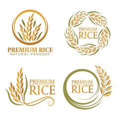 wreath paddy premium rice natural product banner sign vector design