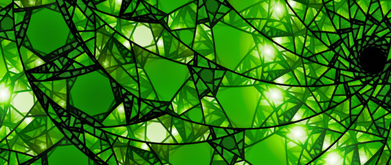 Green glowing stained glass 8k widescreen background