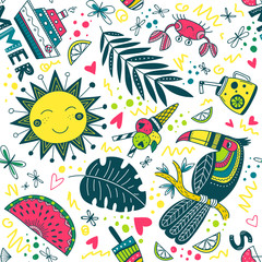cute colorful summer tropical pattern
