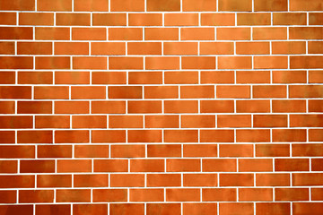 New perfectly orange brick wall background. Best clean brick wall. Close up. Front view.