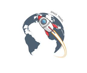 Rocket and earth logo