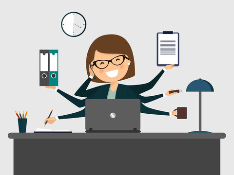 Busy secretary smiling with laptop. Vector illustration