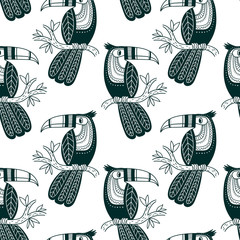 Vector seamless pattern of cute toucan in boho style