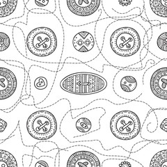Vector seamless pattern with cloth buttons in boho style